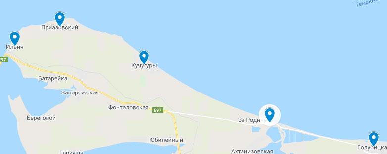 побережье азовского моря карта для отдыха Россия